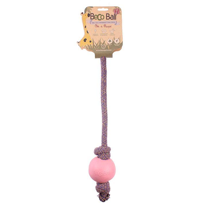 Růžový míček s lanem Přines!