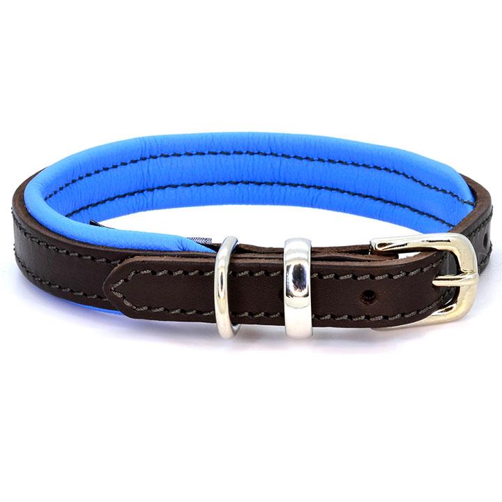 Obojek Padded Leather Blue kožený obojek pro psy pre psov