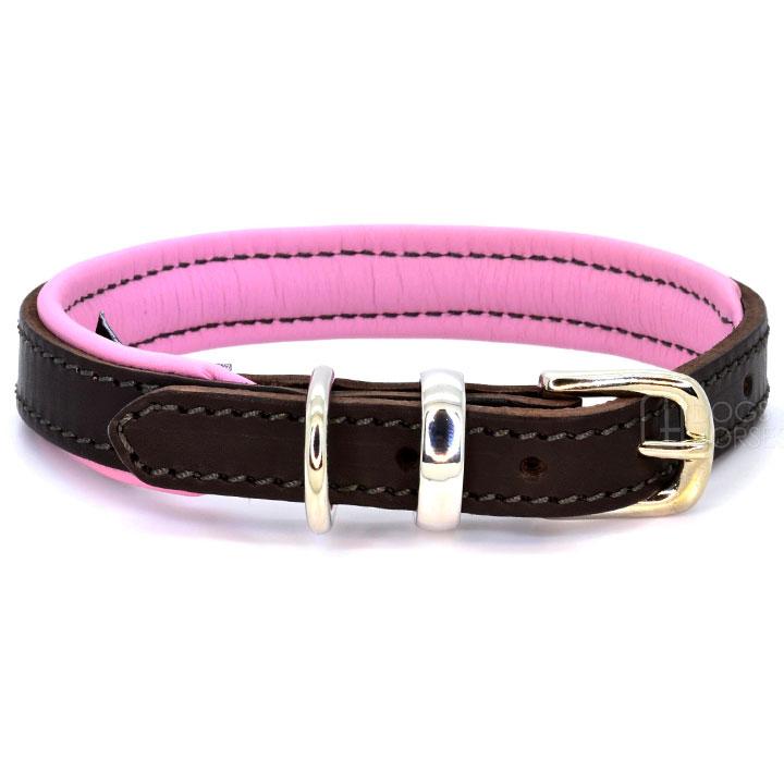 Obojek Padded Leather Pink kožený obojek pro psa