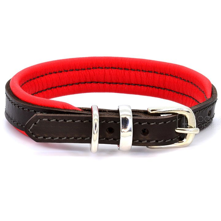 Obojek Padded Leather Red luxusní kožený obojek pro psy pre psov