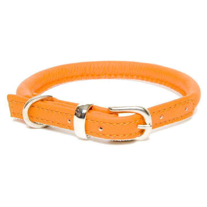 Obojek Rolled Leather Orange luxusní kožený obojek pro psy