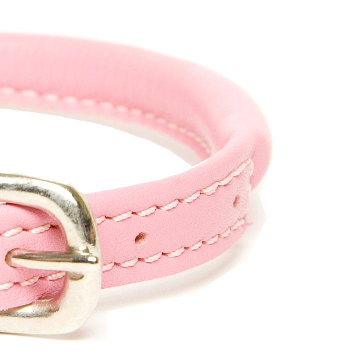 Obojek Rolled Leather Pink kožený luxuxní obojek pro psa