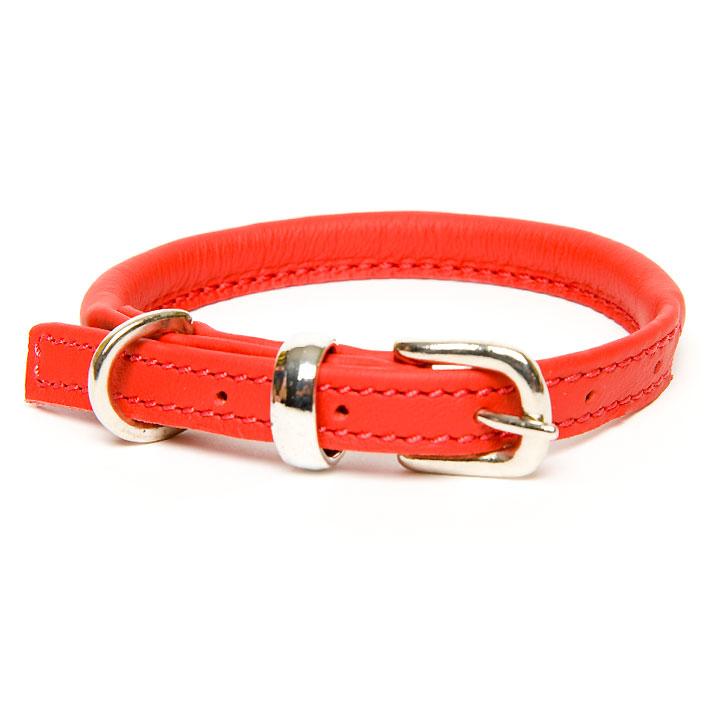 Obojek Rolled Leather Red kožený luxusní obojek pro psy