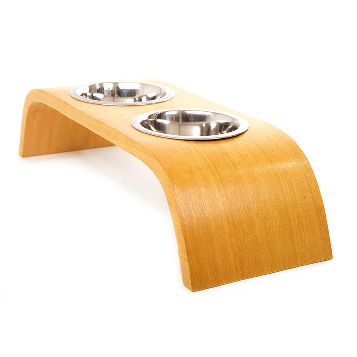 Miska Duo Natural dřevěná miska pro psy s podstavcem
