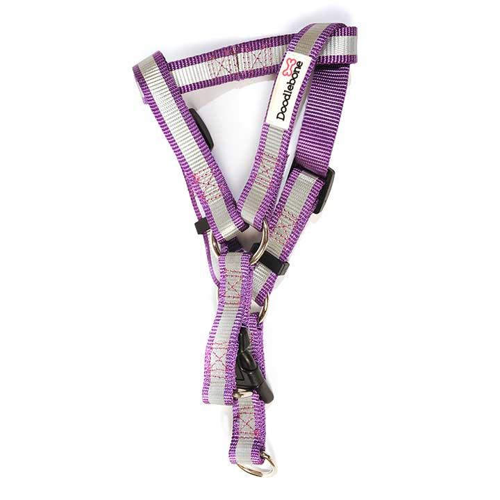 Reflexní lehký postroj Purple pro psy pre psov Doodlebone