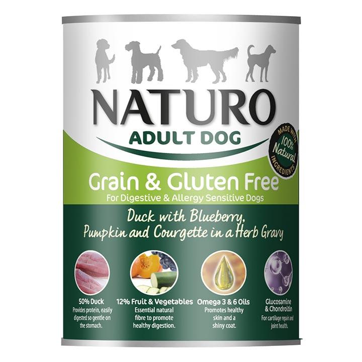 NATURO Grain & Gluten Free Kachna s borůvkami konzerva pro psy
