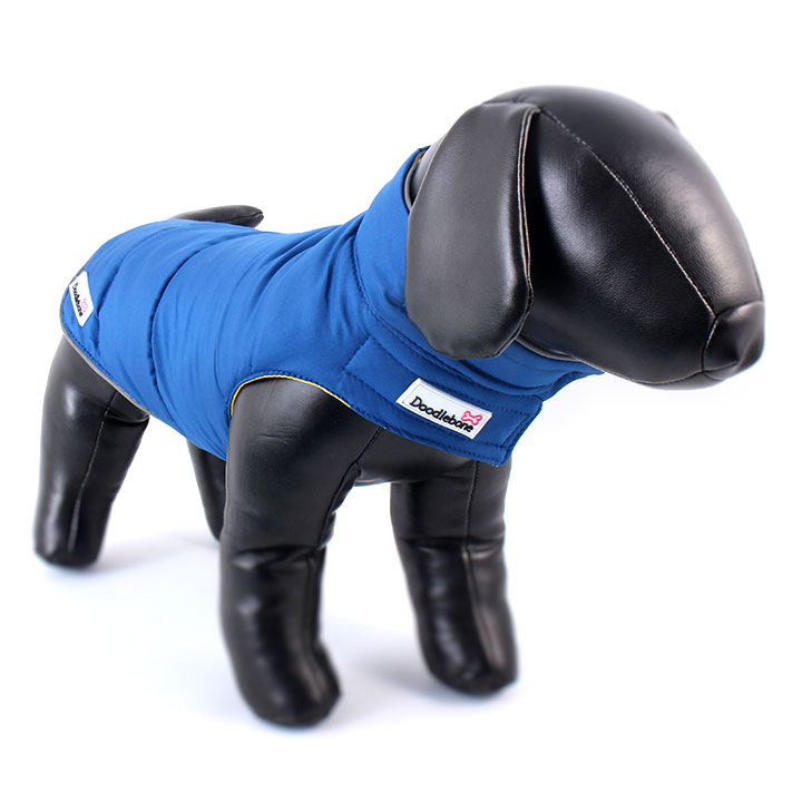 Oboustranná zimní bunda Blue / Yellow pro psy pre psov Doodlebone