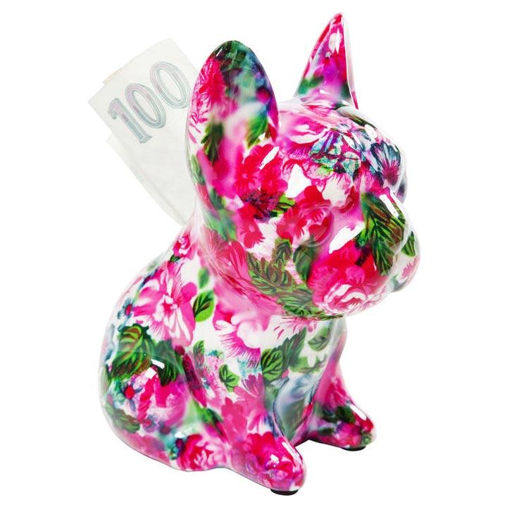 Dog Fiore Pink dekorace mops buldoček