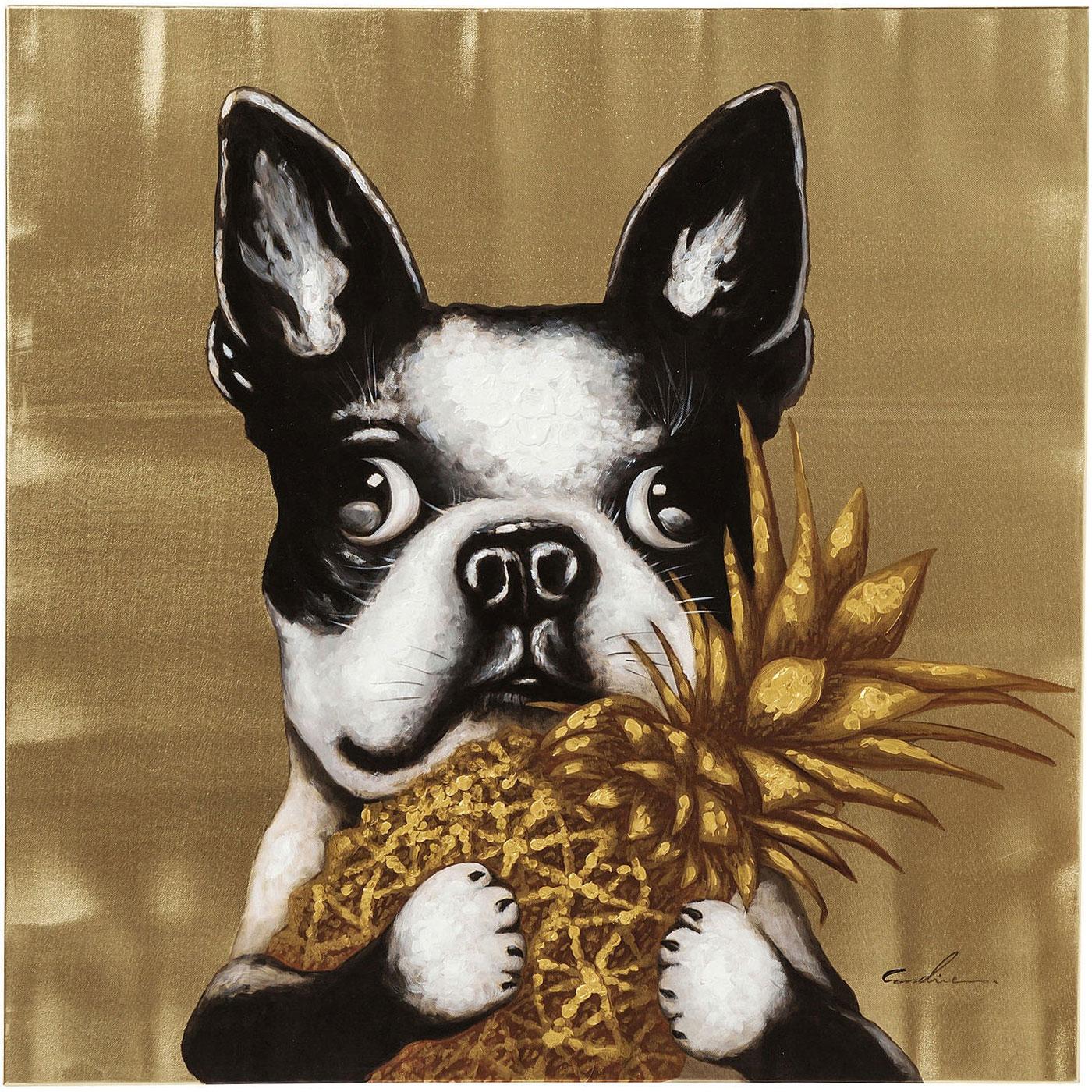 Obraz Dog with Pineapple bostonský teriér francouzský buldoček