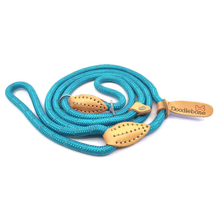Stahovací vodítko Neon Blue pro psy lanové kulaté