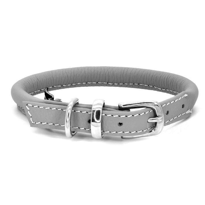 Kožený obojek Dogs and Horses Rolled Grey designový luxusní pro psy