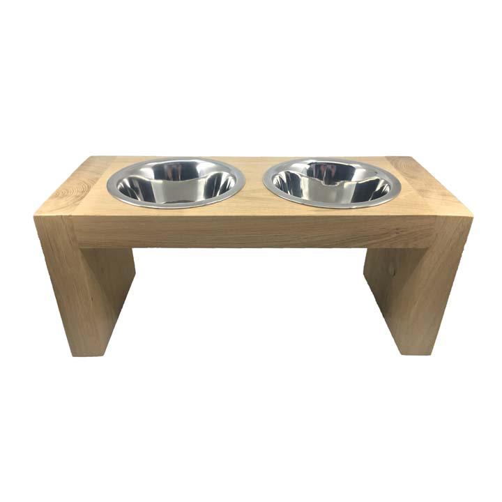 Miska z masivu Dub vyvýšená miska pro psy na podstavci