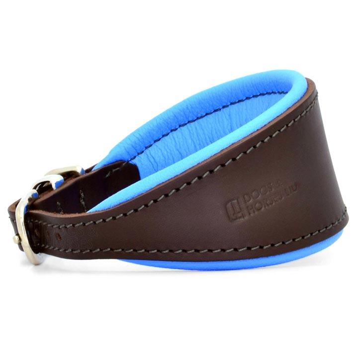 Obojek pro chrty Padded Leather Blue