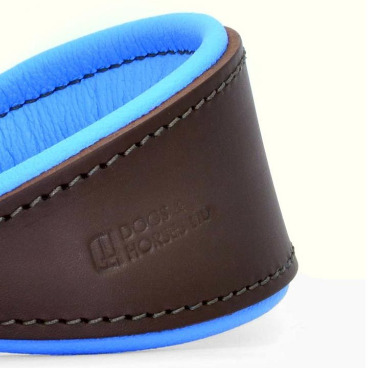 Obojek pro chrty Padded Leather Blue