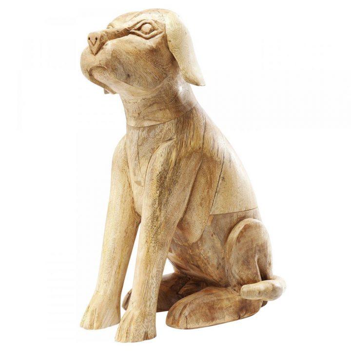 Sitting Struppi dřevěná socha dekorace psa