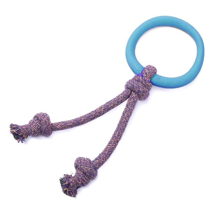 Modrá obruč s lanem eko hračka pro psy z ekologických zdravotně nezávadných materiálů bezpečná