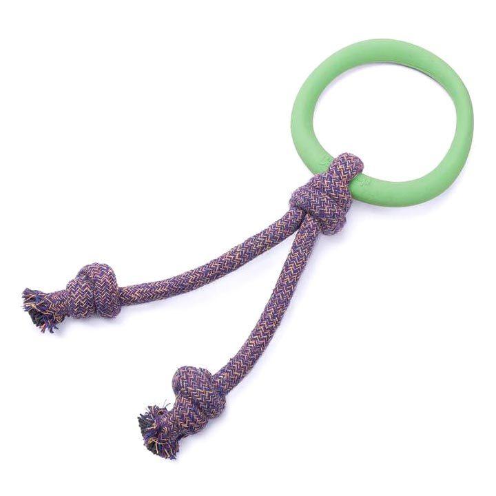 Zelená obruč s lanem eko hračky pro psy