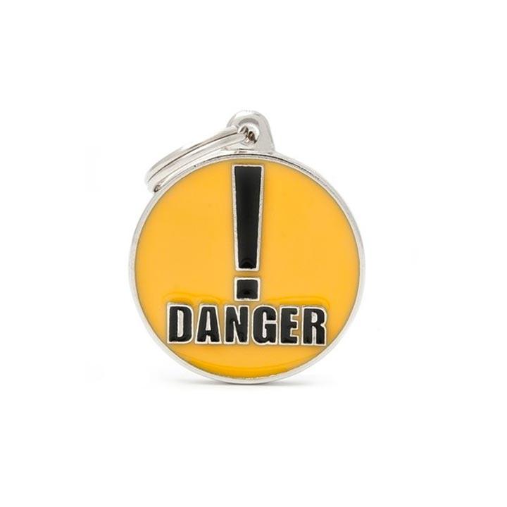 Psí známka Danger se jménem gravírování