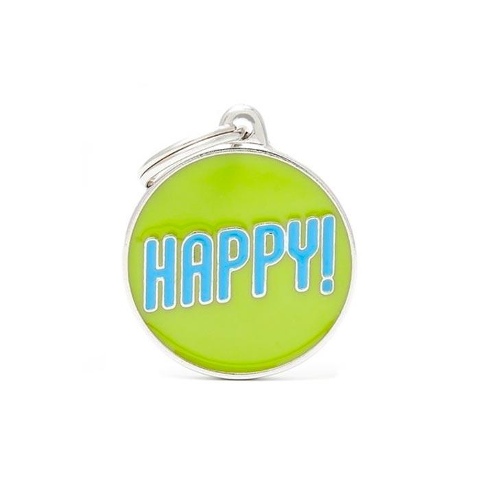Psí známka Happy se jménem gravírování
