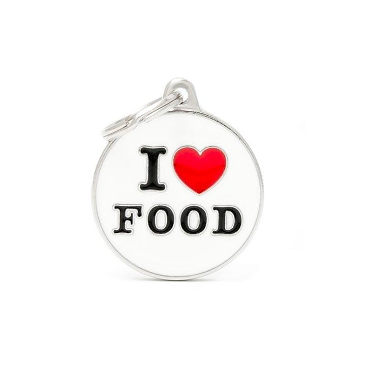 Psí známka I Love Food se jménem gravírování