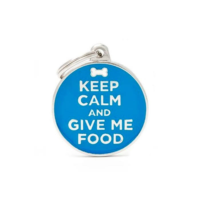 Psí známka Keep Calm And Give Me Food se jménem gravírování