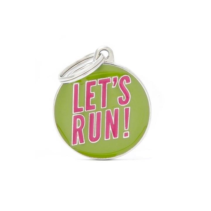 Psí známka Let's Run se jménem gravírování