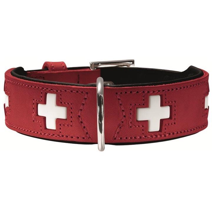 Hunter Široký obojek Swiss Red 4 cm švýcarský