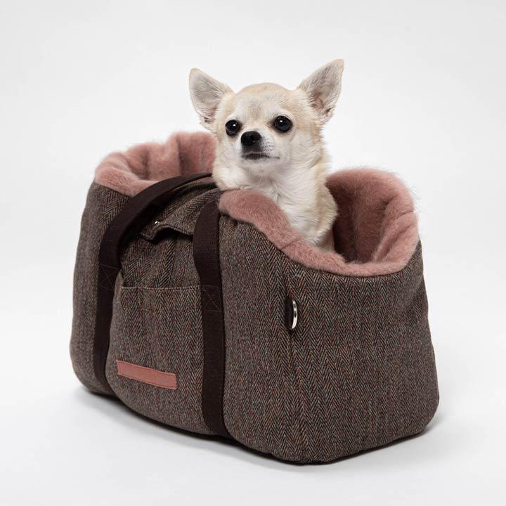 Cloud7 Cestovní taška Milano Herringbone Brown luxusní pro psy