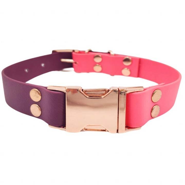 Dolce Hafana Obojek Klik pink růžový / purple fialový designový odolný do vody pro psy