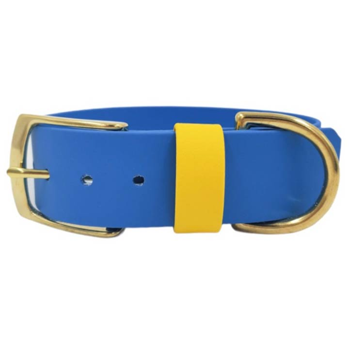 Dolce Hafana Široký obojek Blue / Yellow designový odolný do vody